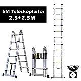 Rendio 3,8M Alu Teleskopleiter Klappleiter Ausziehleiter Mehrzweckleiter Anlegeleiter aus hochwertigem Alu Teleskop-Design 150 kg Belastbarkeit, 12 Spross