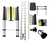 Todeco - Teleskopleiter, Klappleiter - Maximale Belastbarkeit: 150 kg - Standard/Zertifizierung: EN131-4,1 Meter, GRATIS Tragetasche, EN 131
