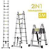 FEMOR 5M Alu Teleskopleiter Anlegeleiter mit erweiterter Grundlage Aluleiter Sprossenleiter Schiebeleiter Klappleiter (5M mit erweiterter Grundlage)