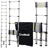 Craftfull Aluminum SOFT CLOSE Teleskopleiter inkl. Tragetasche - in 2/2,6/2,9/3,2/3,8/4,1/4,4 Meter - Mehrzweckleiter - Stehleiter - Aluminiumleiter - Leiter - Schiebeleiter - Aluleiter (3.2 Meter)