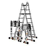 MJY 3,4M-6,6M Teleskopleiter mit Stabilisator, Hochleistungs-Aluminium-Mehrzweck-Verlängerungsleitern für Home Loft Office),3,3 m + 3,3 m (6,6 m),3,3 m + 3,3 m (6,6 m)