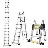 FIXKIT 5M Alu Teleskopleiter Klappleiter ausziehbare Leiter Teleskop-Design 150 kg Belastbarkeit mit 2 Ro