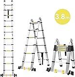 FIXKIT 3,8M Alu Teleskopleiter Klappleiter, ausziehbare Leiter Teleskop-Design mit 2 Rollen 150 kg Belastbar
