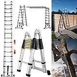 5M Teleskopleiter ausziehbare Leiter Aluleiter Ausziehleiter Anlegeleiter 16 Sprossen Mehrzweckleiter 150kg Belastbarkeit Sicherheitsverriegelung Leiter 2.5M+2.5M