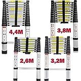 Teleskopleiter 2,6M/3,2M/3,8M/4,4M Aluleiter Klappleiter Mehrzweckleiter Rutschfester Ausziehleiter Ausziehbare Leiter Stehleiter Tragbar Leichte Leiter Schiebeleiter 150 kg Belastbar