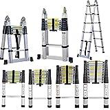 3,2M Alu Teleskopleiter, Aluminum Klappleiter Ausziehleiter,Rutschfester Mehrzweckleiter, Haushaltsleiter belastbar bis 150 kg Belastbarkeit,EN131