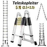 5M Mehrzweck Aluminium Teleskopleiter Ausziehbare Trittleiter A-Rahmenleiter Schwere 150kg Tragfähig